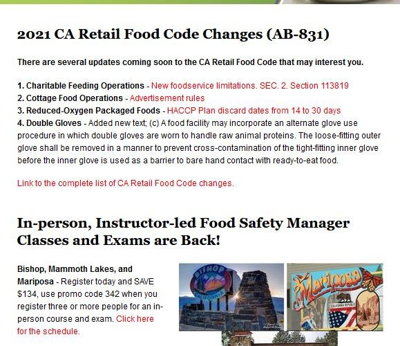April 2021 – Food Safety News And Training Schedule